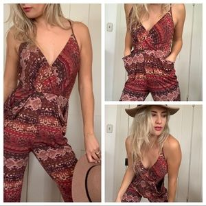 BCBG Jumpsuit w/ Pockets Tribal Cropped Ankle S